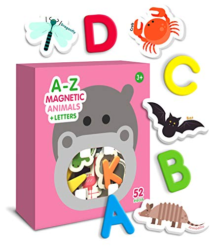 Curious Columbus Animal Magnets For Kids. Includes Alphabet Letters. Set of 52 Pieces. Foam Educational Magnetic Toy Objects For Word Recognition. 26 Picture Fridge Magnets and 26 ABC Letters From A-Z (Animals Beginning With Each Letter Of The Alphabet)