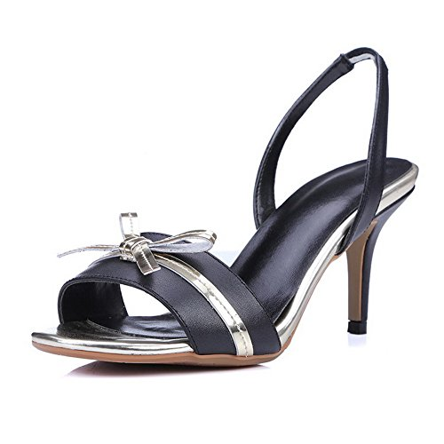 AmoonyFashion Womens Assorted Color Cow Leather High-Heels Open Toe Pull-on Sandals Black noQ3MfQ1