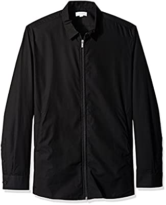 Calvin Klein Men's Long Sleeve Zip Front Poplin Shirt