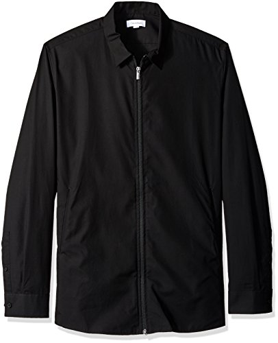 Calvin Klein Men's Long Sleeve Woven Button Down Shirt, Black Poplin, L by Calvin Klein