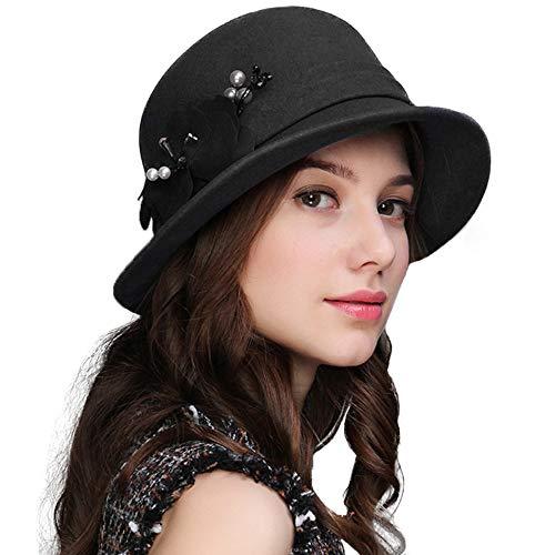 FADVES Women Flower Fedoras Wool Felt Hat Wide Brim Fedora Bucket Church Hats Dark Grey