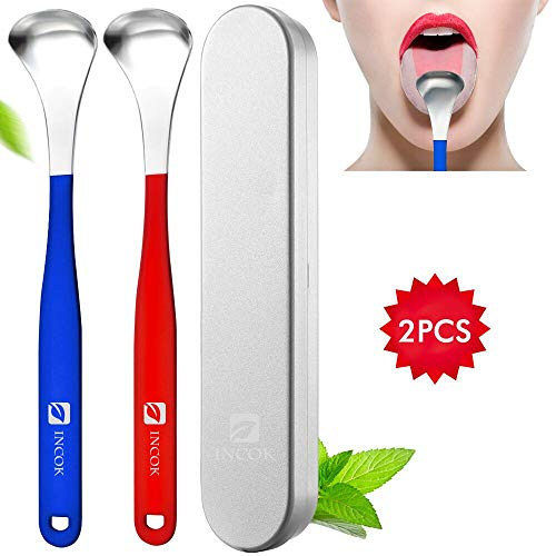 Stainless Steel Tongue Scrapers Cleaners - Fresh Breath Tongue Scraper Medical Grade Metal Tongue Sraping Cleaner with Carrying Case Convenient Cleaning for Oral Care Bad Breath Cure from INCOK
