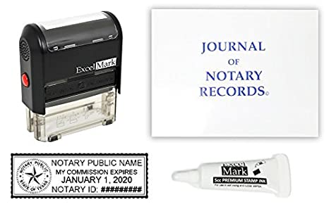 ExcelMark Self Inking Notary Stamp Kit   Texas