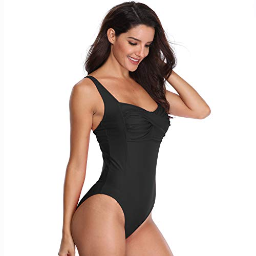 One Piece Swimsuits for Women with Tummy Control Ruched Pattern Removable Padded Conservative and Sexy Bathing Suit Plus Size Swimwear in Black