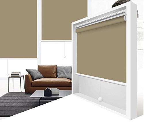 ZY Blinds Cordless Roller Shades 100% Blackout Custom Made UV Protection Enery Saving Block 100% Light Window Shades Blinds for Home, Hotel, Club, Restaurant 36″ W x 84″ L, Stone Color