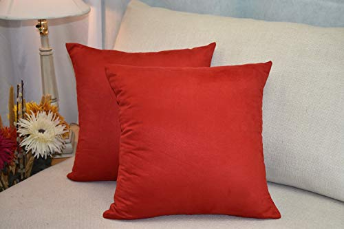 (MoonRest Pack of 2- Suede Square Decorative Throw Pillow Covers Sofa sham Solid Colors Cushion Pillowcases (20 x 20 Cinnabar))