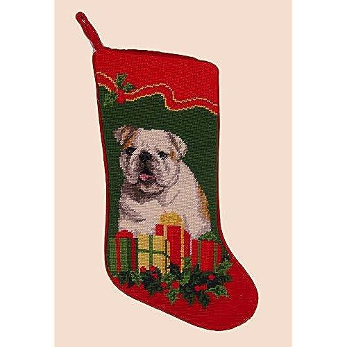 bulldog needlepoint christmas stocking by elegant decor - Elegant Christmas Stockings