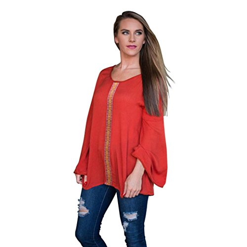Women Splice Tops, Misaky Shirt Loose And Comfortable Bottoming Shirt (S, Red)