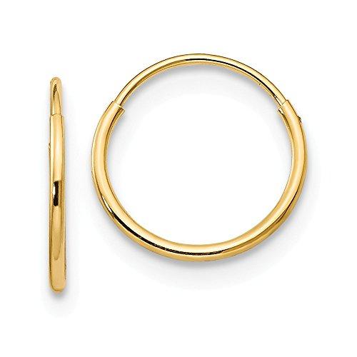 14K Yellow Gold 8mm Endless Hoop Earrings