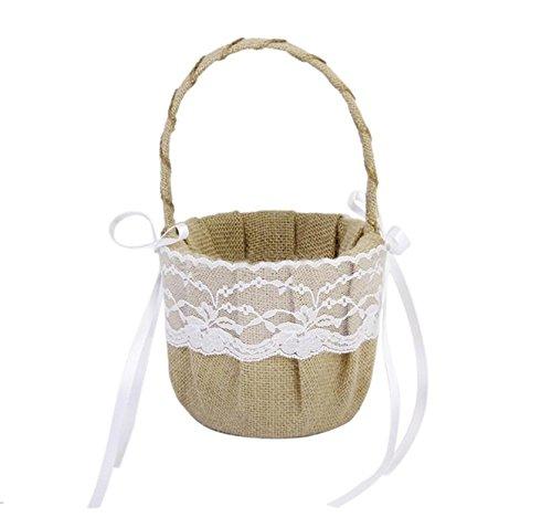 Angelduck Hand-crafted Rustic Burlap Lace Bow Wedding Flower Girl Basket