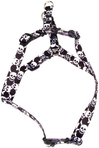 Pet Attire Styles Step-In Harness, 16-24-Inches, Skulls with Bones