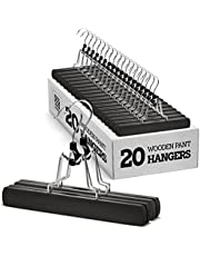 High-Grade Wooden Pants Hangers with Clips Non Slip Skirt Hangers, Smooth Finish Solid Wood Jeans/Slack Hanger with 360° Swivel Hook - Pants Clip Hangers for Skirts, Slacks - Clamp Hangers