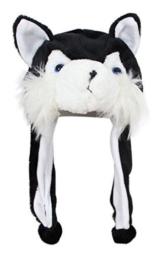 (Bioterti Plush Fun Animal Hats –One Size Cap - 100% Polyester with Fleece Lining (Black Husky))