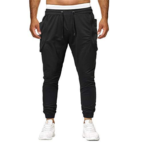 Muranba Clearance Men's Solid Casual Drawstring Joggers Sweatpants (M, Black A)