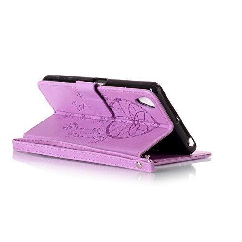 Funda Sony X Performance, Carcasa Plegable para Sony X Performance, Lifetrut Sólido Shiny Sparkle libro de estilo funda de cuero con ranura para tarjetas de cierre magnético soporte funda de teléfono  E211-Atrapasueños En púrpura