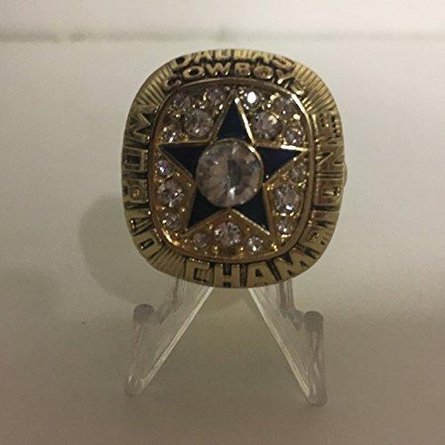 1971 Roger Staubach Dallas Cowboys High Quality Replica Super Bowl VI Ring Size 10.5-Colored Gold, Blue Star Logo
