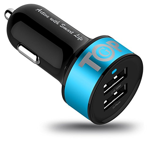 Car Charger Topg Smart Mini 3 4A High Output 2 Port Rapid Usb Car Charger With Smartic Technology   Retail Packaging   Blue