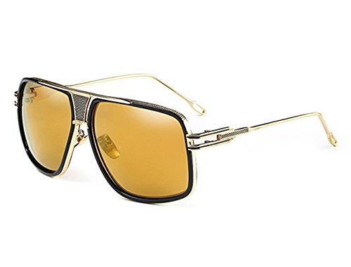Oro Gafas Haz Vintage Metal Doble De Hombre Mujer Conducción Lente Retro Sol Unisex Grandes Marco Negro Brillante Marco Oversized para De rzvRqgOr0