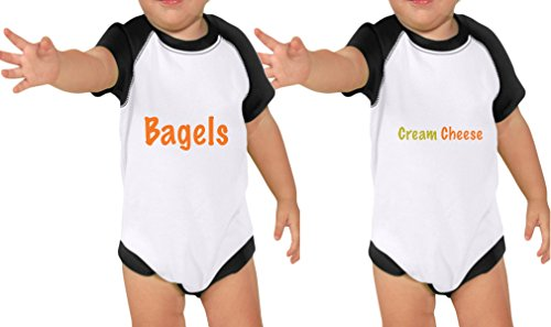 Price comparison product image Bagels & Cream Cheese Set Raglan Short Sleeve Bodysuit Twin Set White Black 24 Months