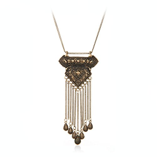 Ethnic Antique Gold Silver Geometric Carving Long Alloy Chain Tassel Waterdrop Pendant Chunky Necklace (Gold)