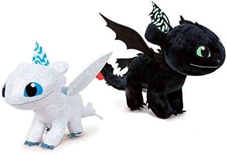 Play by Play Pack 2 Peluches como Entrenar a tu Dragón 3, 40 cm Brilla en la Oscuridad