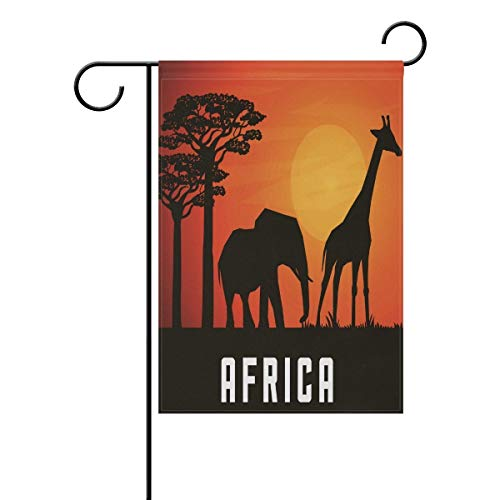 (Africa Animal Forest Zoo Garden Flag Giraffe Elephant Sunset Orange Yard Flag 27.5x39.3 Inch Double Sided)