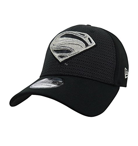 Superman Hats (Superman Black Armor Justice League 39Thirty Fitted New Era Hat- Medium/Large)
