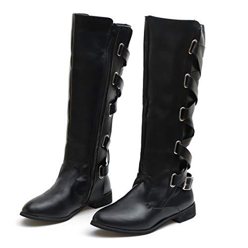 Riding Roman Buckle Bringbring Long High Boots Black Cowboy Womens Knee CXqXwaB