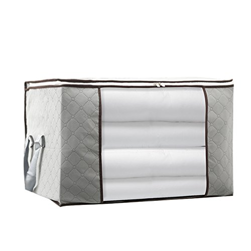 Clothes,Blanket Storage Bag,Large Capacity Household Home Organizers with Transparent Window for Comforters,Bedding,Duvets,Quilts,Pillows,Sweaters,Create Extra Storage Space,Anti-Mold,Gray