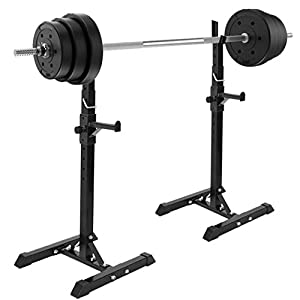 Fly-Love 1 Pair of Adjustable Squat Rack Standard 42-64 Inch Dipping Station Barbell Rack Dip Stand Fitness Bench Press Equipment Home & Gym