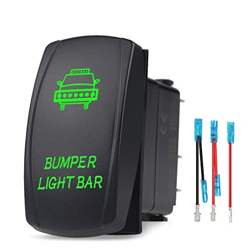 WATERWICH Bumper Light Bar Illuminated Rocker Toggle Switch Waterproof with Jumper Wires Set ON-Off DC 20A 12V/10A 24V 5pin/SPST Toggle Rocker Switch for Auto Truck Boat Marine RV Off Road (Green)