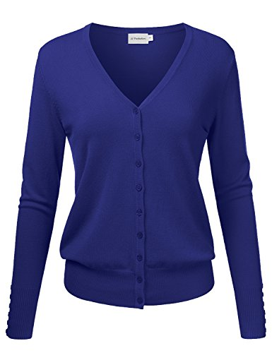 JJ Perfection Women's V-Neck Button Down Long Sleeve Knit Cardigan Sweater ROYALBLUE M