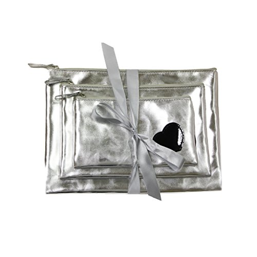 Mia Cosmetic Bag Gift Set-3 Sizes Tied Together With A Shiny Silver Ribbon -Beautiful Silver Metallic PU Leather With A Black Patent Leather Heart-Silver Zipper-Silver Metallic Puller-Water Resistant (Silver Liquid Leather)