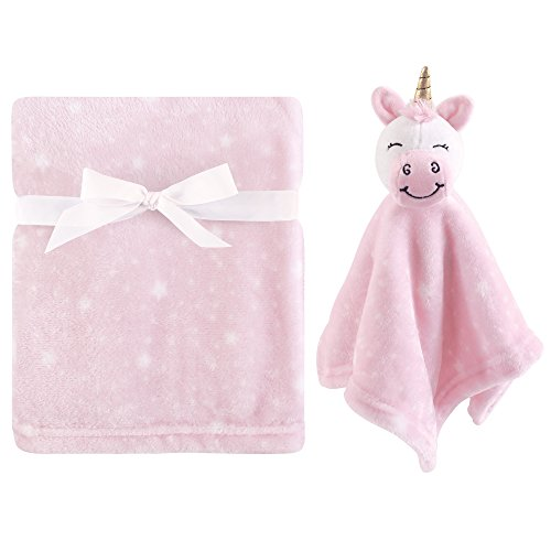 Hudson Baby Unisex Baby Plush Blanket with Security Blanket, Unicorn 2 Piece, One -