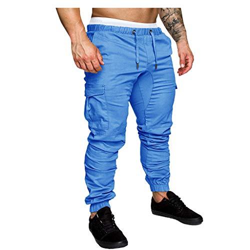 Men Sweatpants Slacks Casual Elastic Joggings Sport Solid Baggy Pockets Trousers, MmNote Blue