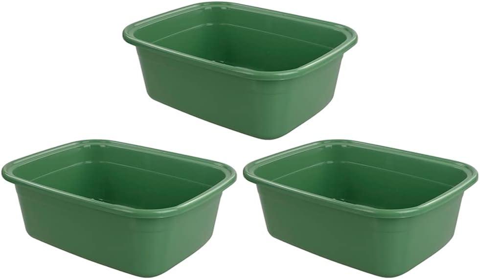 Lesbin 3-Pack 16 Quart Plastic Dishpan Basin / Dish Bin