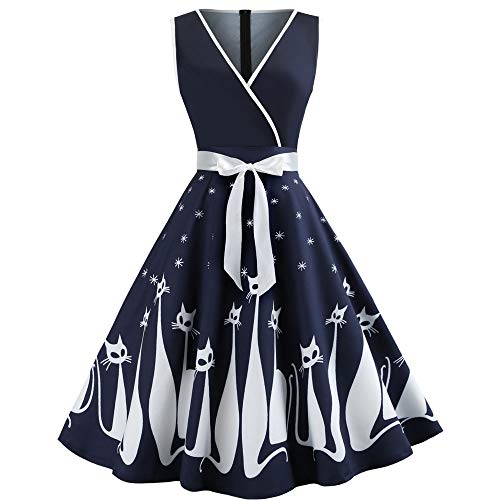 Evening Party Dresses for Women Hot Sale,DEATU Ladies V Neck Cat Printed Sleeveless Elegance Swing Retro Dress(Navy,L) -