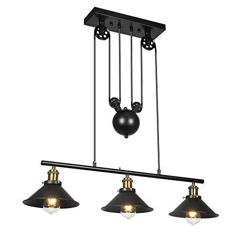Lámpara colgante de 3 poleas, lámpara de isla Lámpara de techo rústica industrial ajustable Lámpara de techo vintage…