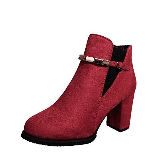 S y de para Eu Botas Alto con con Lateral Mujer Botines de tacón Trabajo 36 DEED Cremallera Boots de Cordones qgnaOCx