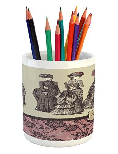 Ambesonne Victorian Pencil Pen Holder, Ladies Clothes Fashio