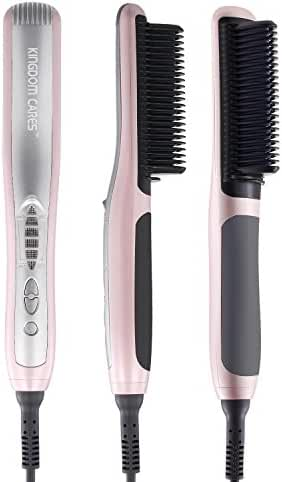 KINGDOMCARES Straightener Brush Hair Straightening Hair Curling PTC Fast Heating Electrical Ceramic 2 In 1 Iron Comb Silky Straight Ideal For Soft Thin Thick Curled Hair Anti-Scald Straightener Pink