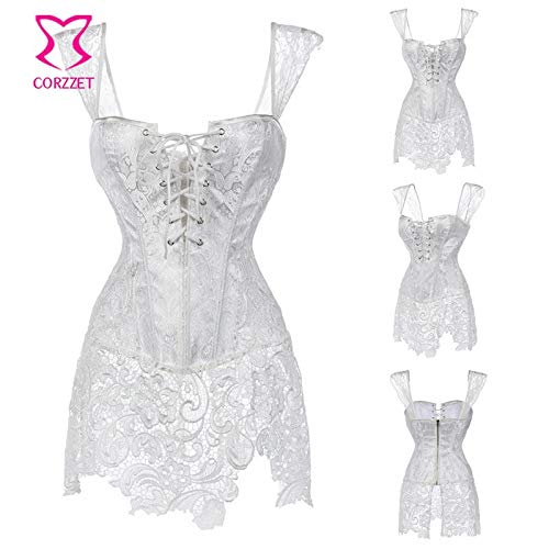 9a00202ad6e HITSAN White Paisley Pattern Brocade   Lace Skirted Bridal Corset Bustier  Tops Plus Size Korsett for Women Wedding Dress Lingerie Color White Brocade  Size ...