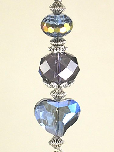 Ornament/Rear View Mirror Car Accessory Faceted Iridescent Blue and Purple All Glass Heart Design