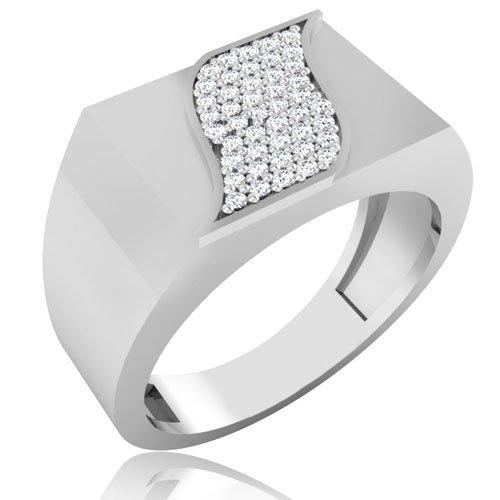 0.15 ct Redondo Natural Diamond anillos de boda para hombre sólido 14 K oro blanco para