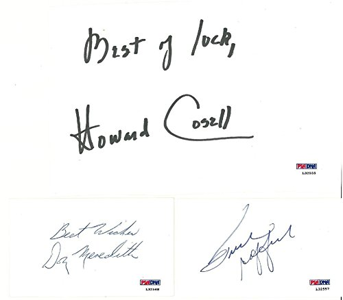 Mnf Signed Index Cards-Howard Cosell/Don Meredith/Frank Gifford +Photo - PSA/DNA Authentic Autograph (Index Card Signature Autograph)