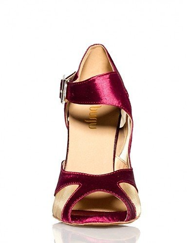 ShangYi Non Customizable Women's Dance Shoes Latin Satin Flared Heel Green / Purple Black xMqw4olp