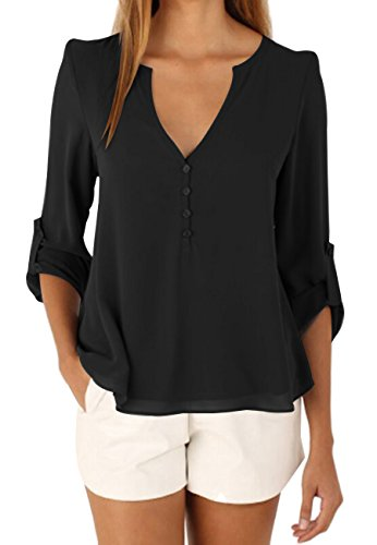 OMZIN Women Casual Chiffon Button V Neck Blouses Shirts Plus Size Long Sleeve Top