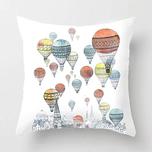 Aremazing Colorful Hot Air Balloon Super Soft Throw Pillow Case Cushion Cover Home Decor 16 X 16 Inches (Hot Air - Pillow Balloon Hot Air