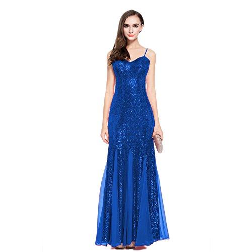 Robes De Cocktail Formelles De Soutien-gorge Des Femmes Cotylédons Paillettes Sans Manches Longues Robes De Bal Bleu Mince En Forme