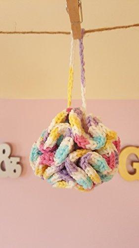 100% Cotton Eco-Friendly Pastels Cotton Bath Pouf – Lavender Scented – My Poufs are my 1 Seller on Amazon Handmade
